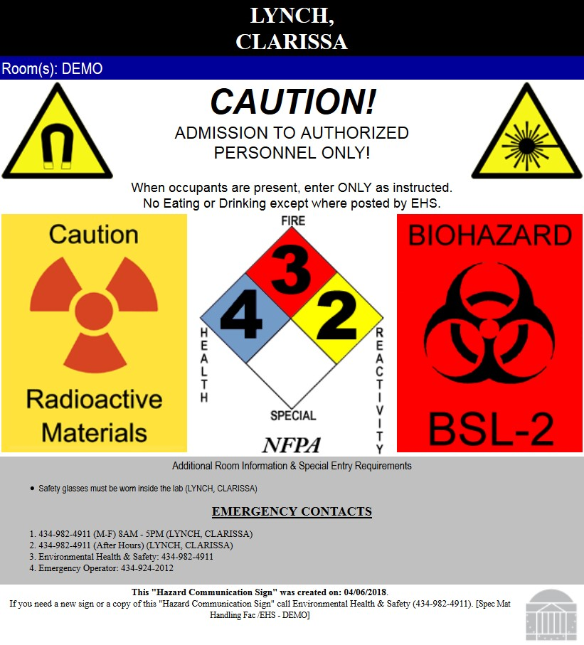 Chemical Safety Door Signs Uva Ehs